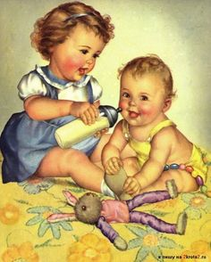 Милые ретро картинки с детками (много фото)