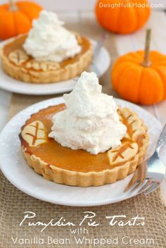 These easy Pumpkin Pie Tarts are just like classicpumpkin pie, but when made in small tart pans, they become the most beautiful individual dessert for your holiday meal! Topped with delicious vanilla bean whipped cream, your guests will be dazzled!