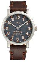 Timex ® 'Waterbury' Leather Strap Watch, 40mm