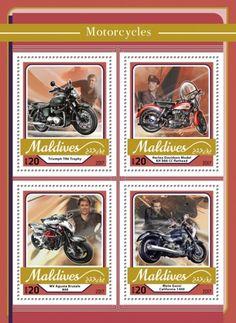 MLD17105a Motorcycles (Triumph TR6 Trophy; Harley-Davidson Model KH 888 CC flathead; MV Agusta Brutale 800; Moto Guzzi California 1400) Moto Guzzi California, Cadillac, Morris, Mv Agusta, Fire Engine, Maldives, Harley Davidson, Sedan, Stamps