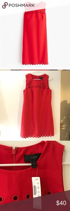 J. Crew red dress size 6P Very beautiful and stylish. Just too big on me. It's a little bit wrinkled since it's been sitting in my closet for a while. It could easily be fixed by a steamer. Hope someone could enjoy it! J. Crew Dresses Midi