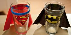 These are Superman, Batman and Wonder Woman themed shot glasses with attached capes. Because what's a shot glass without a cape? Superman Party, Superhero Birthday Party, Batman And Superman, Boy Birthday, Birthday Parties, Birthday Ideas, Avengers Birthday, You Are My Superhero, Superhero Capes
