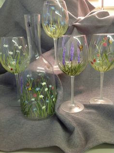 Hand Painted Floral Wine Carafe and Glasses by ToteCoutureByAngela, $100.00
