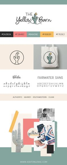 The Yellow Barn brand board. Authentic, whimsical, southwestern, and clean brand inspiration. Cactus logo design. Brand Design. Brand Design Inspiration. Brand Boards. Logo Inspiration. Quirky, Whimsical logo. #branddesigninspiration #logodesign #brandingyourself