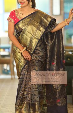 PV 3905 : Navy Blue kuppadam Price : 7700 Rs Look bright and traditional this festive season in this navy blue and kuppadam sari Unstitched blouse piece : Running blouse piece / Maggam blouse as in the picture is available at additional cost For Order Traditional Silk Saree, Saree Blouse Designs, Silk Sarees, Blush Pink, Hand Embroidery, Navy Blue, Sari, Animation, India