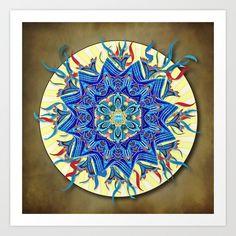 Smiling Blue Mandala Art Print