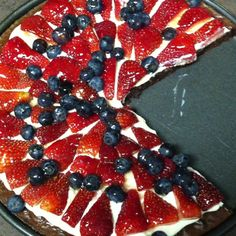 We made brownie fruit pizza...