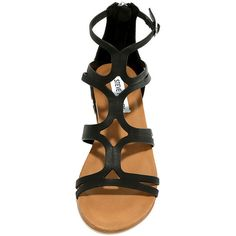 Steve Madden Delta Black Leather Gladiator Sandals ($79) ❤ liked on Polyvore featuring shoes, sandals, leather sandals, metallic wedge sandals, high heel gladiator sandals, black ankle strap sandals and black studded sandals