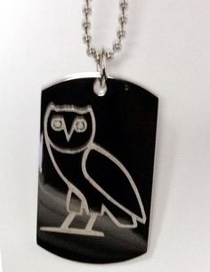 OVO Custom Octobers Owl Very Own Ovoxo RAP Music Singer Logo Symbols - Military Dog Tag Luggage Tag Key Chain Keychain Metal Chain Necklace $14.95