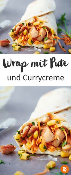 mexican recipes with chicken Wrap mit Pute und Currycreme, Sauce, Currysauce Salsa Curry, Weight Watcher Wraps, 1000 Calories, Sauce Au Curry, Greek Diet, A Food, Food And Drink, Recipes, Stuffed Peppers