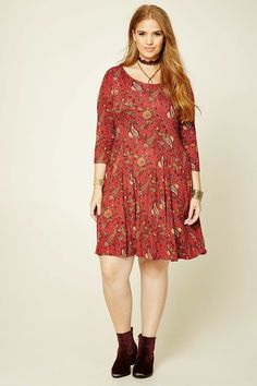 Forever 21+ - A knit swing dress featuring a floral paisley print, scoop neck, 3/4 sleeves, and a crisscross lace-up back.