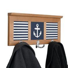 Nautical Anchor Navy Blue/White Wall Mounted Coat Rack #nautical #coat #rack
