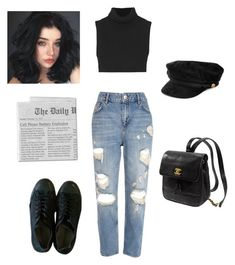 """Untitled #115"" by lithium-venus ❤ liked on Polyvore featuring River Island, Victoria Beckham, Converse and Kate Spade"
