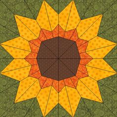 Paper Pieced Quilt Patterns, Barn Quilt Patterns, Pattern Blocks, Sunflower Quilts, Electric Quilt, Fall Quilts, Foundation Paper Piecing, Quilt Blocks, Pdf