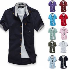 New Men's Fashion Short Sleeve Casual Shirts Slim Fit T-shirt Solid Tee Tops Hot | eBay