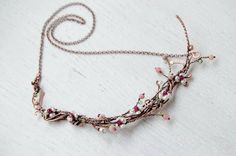 Romantic jewelry Spring Twig necklace blooming almond by IrenAdler