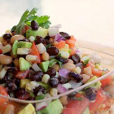 Cowboy Caviar (black eyed peas, black beans, cilantro, tomatoes, avocado, corn, and deliciousness.)