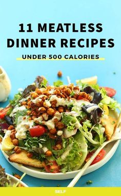 11 High-Protein Meatless Dinners Under 500 Calories 11 High-Protein Vegetarian Recipes Under 500 Calories Vegetarian Recipes Under 500 Calories, High Protein Vegetarian Recipes, Quick Vegetarian Meals, Vegan Dinners, Diet Recipes, Healthy Snacks, Healthy Recipes, Protein Dinners, Ham Recipes