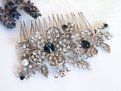 Victorian Style Bridal Hair Accessories BLUE by GlamorousBijoux, $64.00