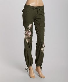 Look what I found on #zulily! Olive Floral Embellished Drawstring Cargo Pants #zulilyfinds