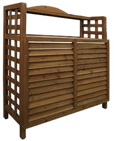 wood air conditioner cover - a planting station! Pool Equipment Enclosure, Pool Equipment Cover, Outdoor Spaces, Outdoor Living, Outdoor Decor, Air Conditioner Cover Outdoor, Privacy Landscaping, Diy Porch, Buy Wood
