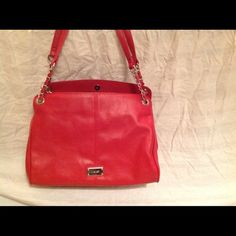 Brand New Nine West Purse Brand New Nine West Purse. Red with leopard print interior. Two storage slots and one zip storage with button closure. Nine West Bags Totes
