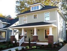 10 Best Of Green Exterior Craftsman House Paint Ideas - If you want to paint your house a bright color that feels modern and fresh, pale green is a great choice. This home green craftsman idea makes you smi. Exterior Paint Color Combinations, Exterior House Colors, Exterior Design, Exterior Houses, Grey Exterior, Craftsman Exterior, Craftsman Bungalows, Craftsman Homes, Square House Plans