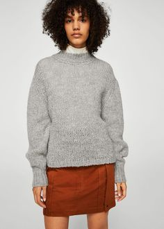 High collar wool sweater - Women | MANGO USA