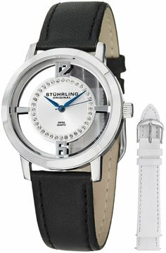 Stuhrling Original Women's 388L2.SET.01 Winchester Tiara Stainless Steel and Swarovski Crystal Watch with Additional Leather Strap: Watches:...