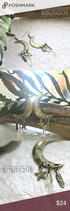 """Celestial Power Earrings w Charms Crescent moon & star, synthetic clear quartz & feather charms Fish hook all in hypoallergenic burnished gold finish Measures: 1.5""""  *ALL PHOTOS TAKEN BY ME WITH LOGO ARE OF ACTUAL PRODUCT*  Boutique Items are NWOT , Packaged with care Shop with Confidence, Top Rated Seller, Poshmark Ambassador! I have my own warehouse, shipping can take up to 4-5 days due to pulling orders and packaging thanks!  Tags. Astrology. Science. Sun. Stars. Zodiac. Boho. Witch…"""