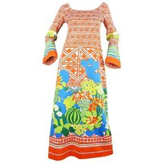 Preowned Lanvin Boutique Orange Tropical Cactus Printed Maxi Dress,... ($388) ❤ liked on Polyvore featuring dresses, maxi dresses, orange, long sleeve boho dress, bohemian maxi dresses, long sleeve vintage dresses, bohemian summer dresses and vintage dresses