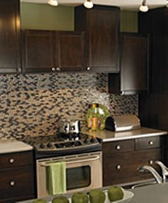 Varying sizes of cabinets adds an element of depth to any kitchen