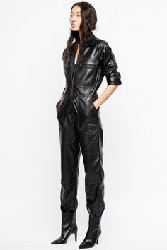 Zadig & Voltaire women's black leather jumpsuit. Leather Jumpsuit, Leather Pants, Black Leather, Royal Blue Outfits, Rubber Dress, Leder Outfits, Ladies Slips, Mode Style, Leather Fashion