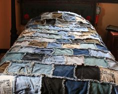 bits of denim sewn into a blanket
