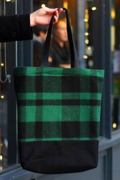 Leather and Wool Tote / Green Plaid Tote Bag / Leather and Canvas Tote {Spruce… Tweed, Large Handbags, Types Of Bag, Big Bags, Leather Projects, Little Bag, Tote Bag, Leather Bag, Purses And Bags