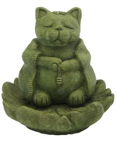 Zen Cat on Lotus Pedestal. Pictured in one of our new stain colors, Mossy green. https://dsgardenshop.com/product/zen-creations-small-set3/
