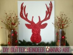 Learn how to make your own glitter reindeer canvas art with this super easy tutorial!