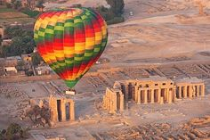 LUXOR: A hot-air balloon flight is the perfect way to experience the world's largest open-air museum. Best way to see a beautiful sunrise and LUXOR's ruins and temples in the beautiful morning light.☀🌅 Luxor, Egypt. #360DegreesAroundEgypt #ShareYourExperience #ExploreDifferently #Travel #TravelJunkie #Explore #Egypt