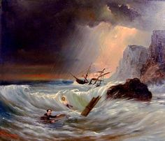 Disaster - Shipwreck .... Le naufrage. Marius Cazeneuve, ca 1904. Painting of shipwreck and lightning at once. Scan of 2 d image in the public domain believed to be free to use without restriction in the US.