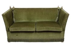 English Knole Sofa in Green Sofa Uk, Sofa Chair, Armchair, Fabric Covered Furniture, Knole Sofa, English Cottage Interiors, Country Style Homes, Country Houses, British Home