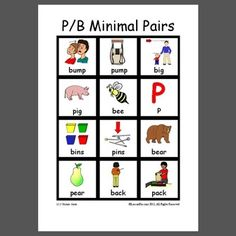P/B minimal pairs in initial and final positions of words