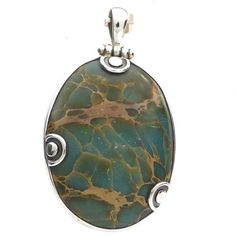Ocean Turquoise Pendant   925 Sterling Silver   West Australian Stone   Genuine unaltered mineral but Jasper not Turquoise   Crystal Heart Melbourne Australia since 1986