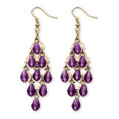 Birthstone Teardrop Chandelier Earrings in Yellow Gold Tone ($24) ❤ liked on Polyvore featuring jewelry, earrings, jewelry & watches, purple, gold jewelry, unisex earrings, gold bead earrings, gold earrings and purple earrings