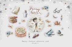 Harry Potter sticker set Hogwarts stickers Illustrated Harry Potter Stickers, Personal Planners, T Set, Travelers Notebook, Filofax, Hogwarts, Unique Jewelry, Handmade Gifts, Illustration