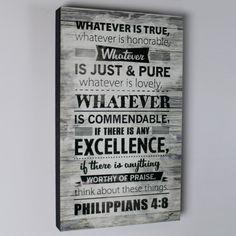 Whatever Is True Wall Art on SonGear.com - Christian Shirts, Jewelry