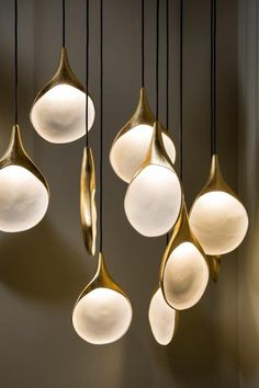 Oggetti Stillabunt Pendant Lamp Simple and chic, reminiscent of natural forms, the Stillabunt pendant i Diy Pendant Light, Pendant Light Fixtures, Pendant Lighting, Pendant Lamps, Brass Pendant, Chandelier, Ceramic Pendant, Brass Lamp, Bar Lighting