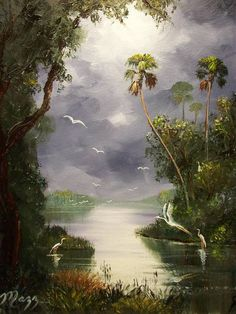 Misty River Birds by Mazz Original Paintings is part of Painting Buy Misty River Birds art prints by Mazz Original Paintings at Imagekind com Shop Thousands of Canvas and Framed Wall Art Prints a - Landscape Pictures, Nature Pictures, Landscape Art, Landscape Paintings, Watercolor Paintings, Original Paintings, Artist Painting, Landscape Photography, Oil Painting Pictures