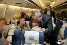 Soldiers love getting hugged because most of them are big softies deep down. | How To Thank A Soldier, By George W. Bush