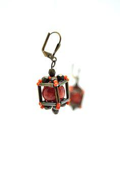 Earrings made of beads - toho, minerals, fire polish, toho pai