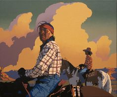 "Billy Schenck, ""Two Navajo Riders"", oil on canvas, 2011, 30"" x 36"""